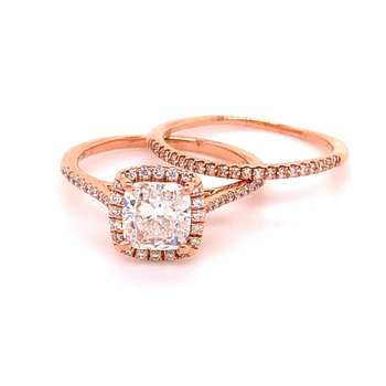 Rose Gold Cushion Bridal Set