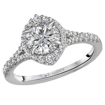 Semi-Mounting for Diamond Halo Engagement Ring