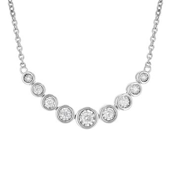 Graduated Bezel Set Diamond Necklace .25tw