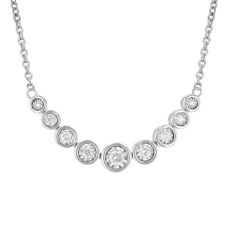 King's Graduated Bezel Set Diamond Necklace .25tw