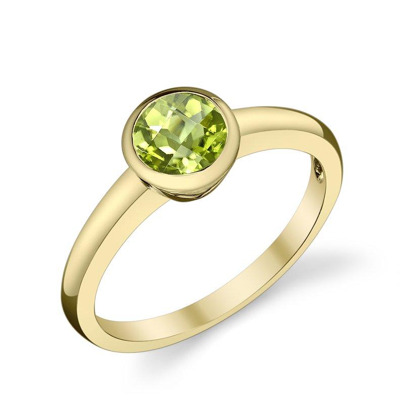 King's Bezel Set Peridot Ring