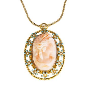 14kt Yel Pink Oval Cameo Pendant w/Seed Pearl Border