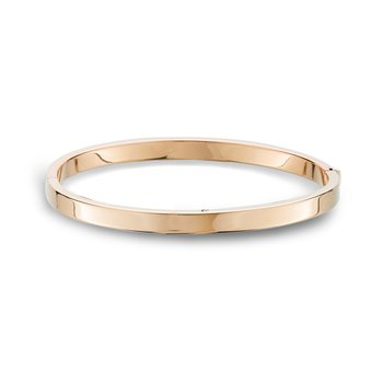 Rose Gold Bangle Bracelet Flat Edge