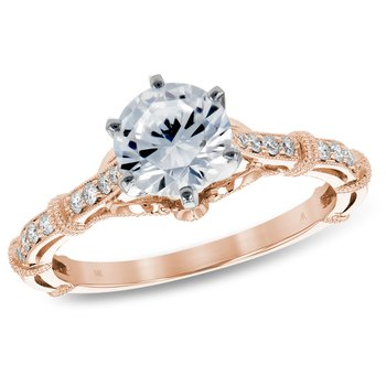 Rose Gold Diamond Engagement Ring .73ct Diamond