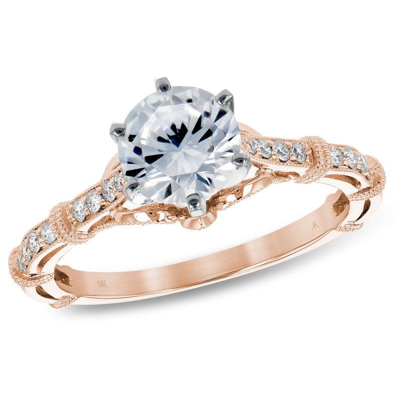 King's Bridal Rose Gold Diamond Engagement Ring .73ct Diamond
