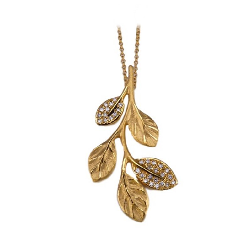 King's Gold Branch Pendant with Diamond Leaves