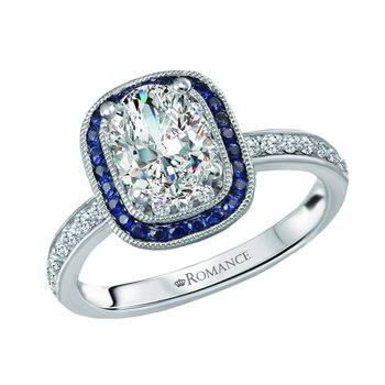 Oval Diamond Engagement Ring w/Sapphire Halo