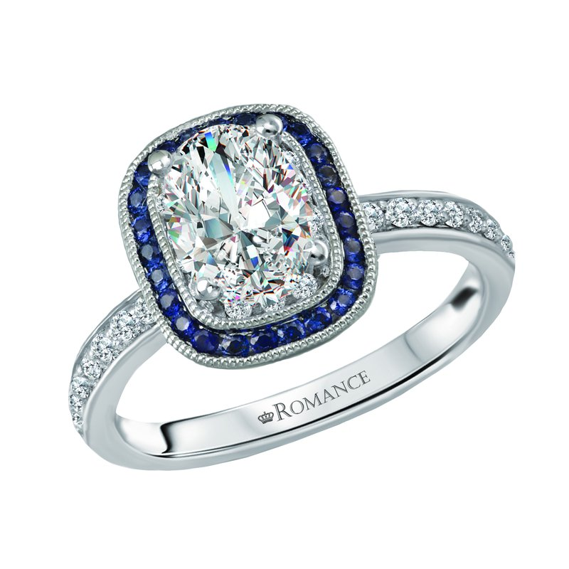 King's Bridal Oval Diamond Engagement Ring w/Sapphire Halo