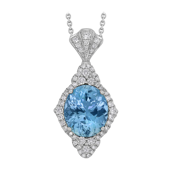 18kt Oval Aquamarine & Diamond Pendant
