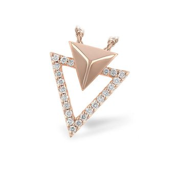 Arrowhead Rose Gold and Diamond Pendant