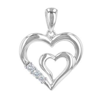 "Double Heart Pendant w/Diams 18"" Chain"