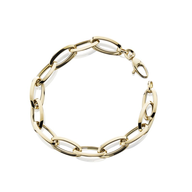 """King's Yel Gold Oval Link Bracelet 7.5"""""""
