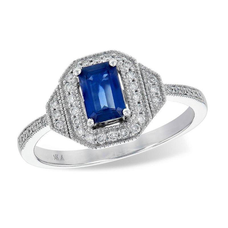 King's Emerald Cut Sapphire & Diamond Ring
