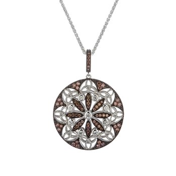 """Round Day Night"" CZ Pendant Reversible"