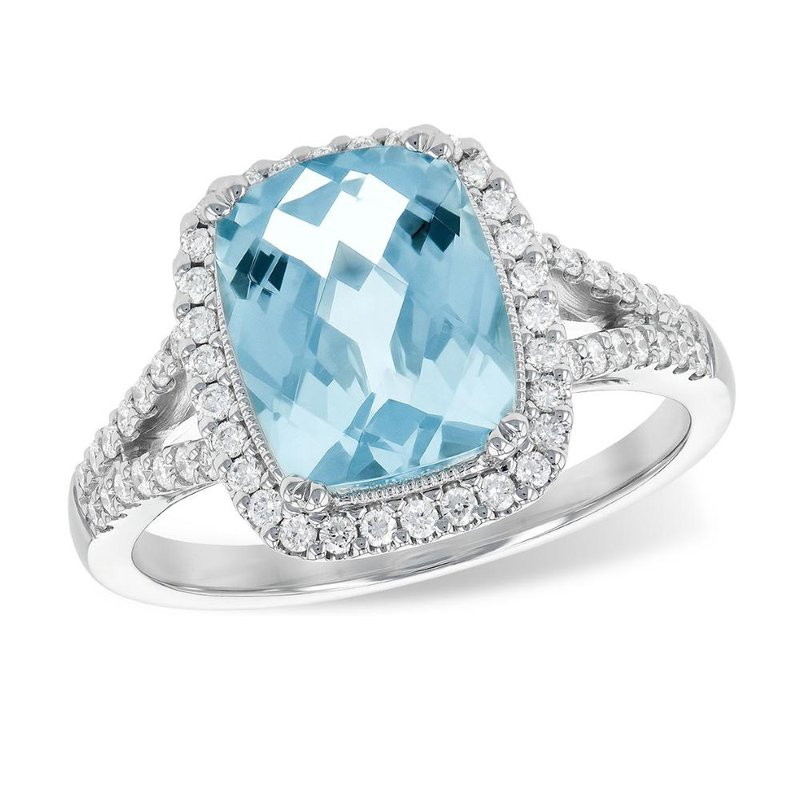 King's Aquamarine and Diamond Halo Ring