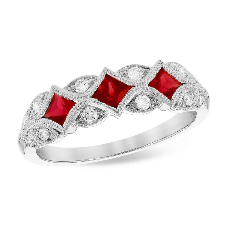 King's 14kt Wht Ruby and Diamond Filigree Band