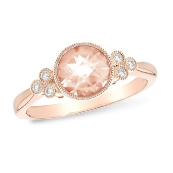 Morganite and Diamond Ring with Milgrain