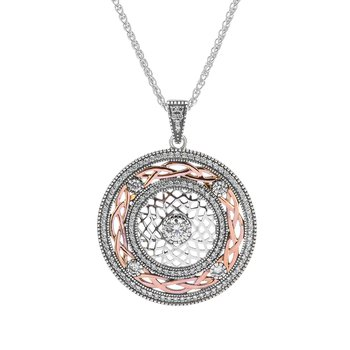 """Braveheart"" Sterling & Rose Gold CZ Pendant"