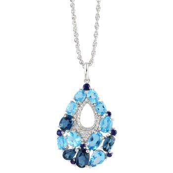 Blue Topaz, Sapphire, Diamond Pendant