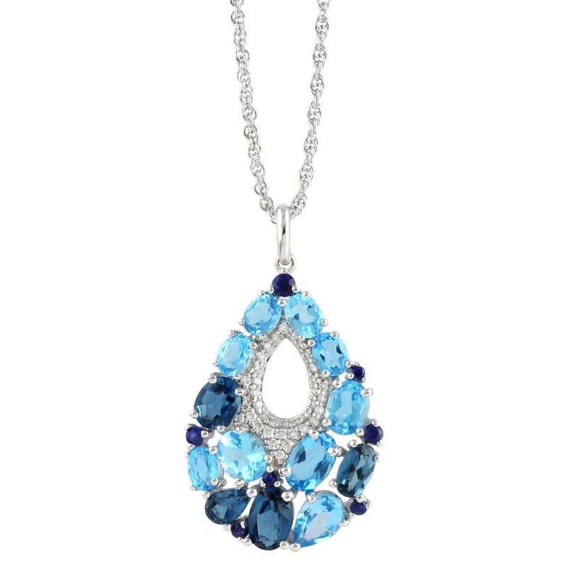 King's Blue Topaz, Sapphire, Diamond Pendant