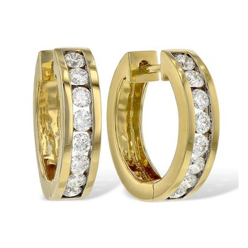 Diamond Hoop Earrings Channel Set .50tw