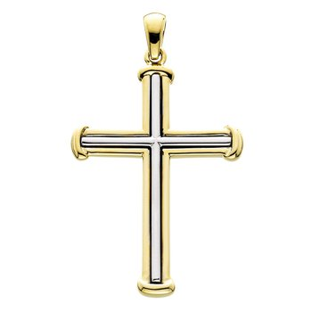 14kt Yel & Wh Gold Large Cross w/Ribbed Design
