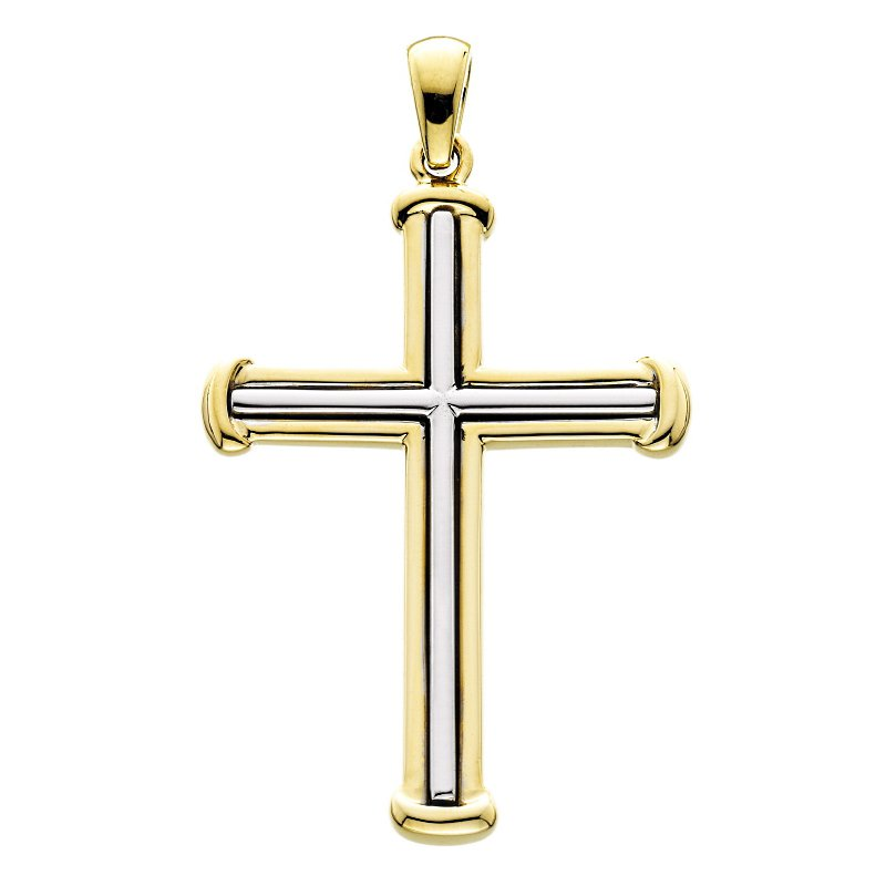 King's 14kt Yel & Wh Gold Large Cross w/Ribbed Design