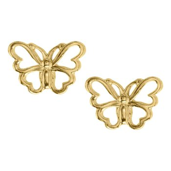 14kt Yel Pierced Butterfly Earrings