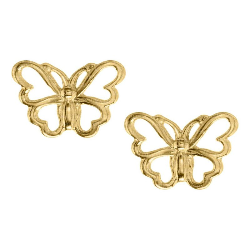 King's Children 14kt Yel Pierced Butterfly Earrings