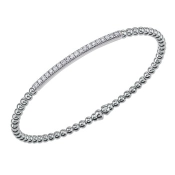 18kt Beaded Cuff Bracelet 20 Diamonds in a Bar =.35tw