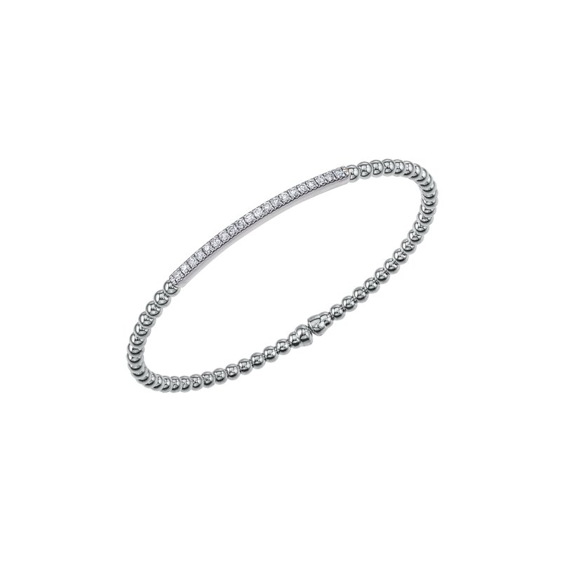 King's 18kt Beaded Cuff Bracelet 20 Diams =.35tw
