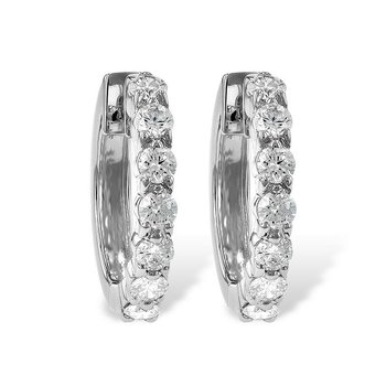 Diamond Hoop Earrings Prong Set .50tw