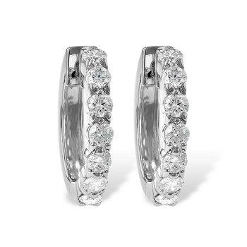 Diamond Hoop Earrings Prong Set .50tw