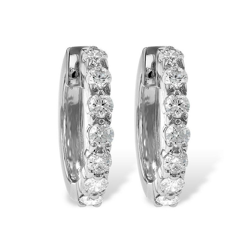 King's Diamond Hoop Earrings Prong Set .50tw