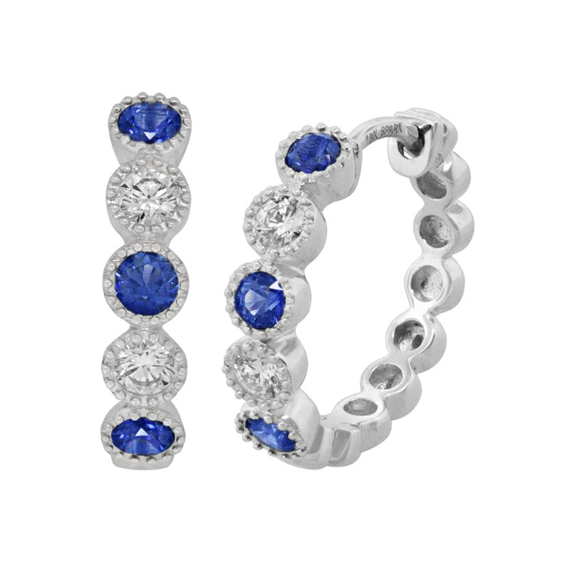 King's 18kt Wh Sapphire and Diamond Hoop Bezel Set Earrings