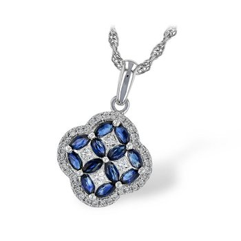 Sapphire and Diamond Clover Pendant