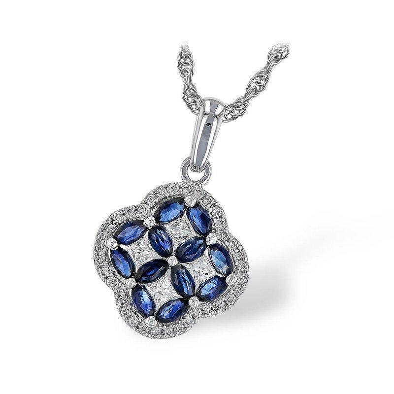 King's Sapphire and Diamond Clover Pendant