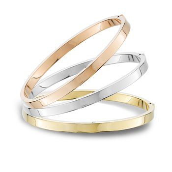 Yellow Gold Bangle Bracelet Flat Edge