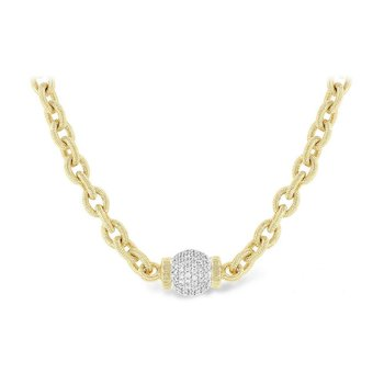 Chain Necklace with Pave Diamond Ball
