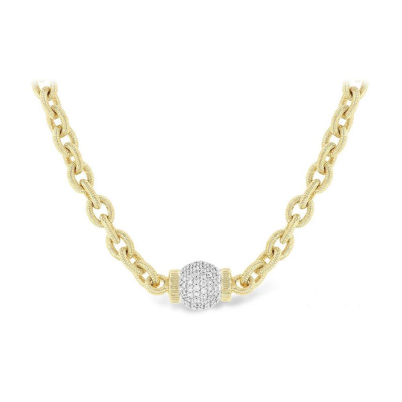 King's Chain Necklace with Pave Diamond Ball
