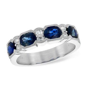 Oval Sapphire & Diamond Band