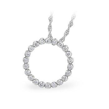 14kt Wh Gold Diamond Circle Pendant =.50tw