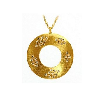 Open Circle Pendant Satin Finish with Diamonds