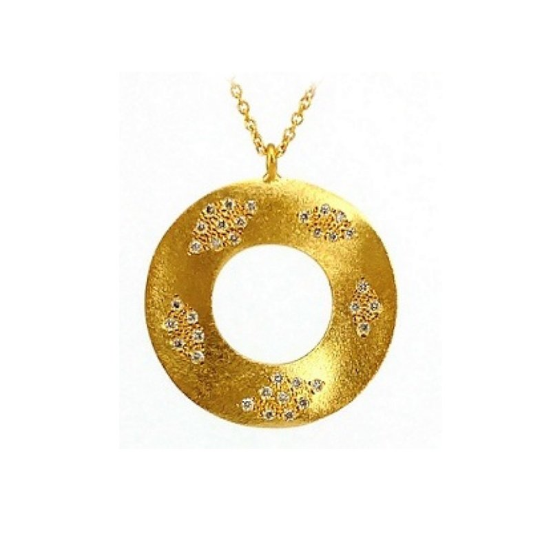 King's Open Circle Pendant Satin Finish with Diamonds