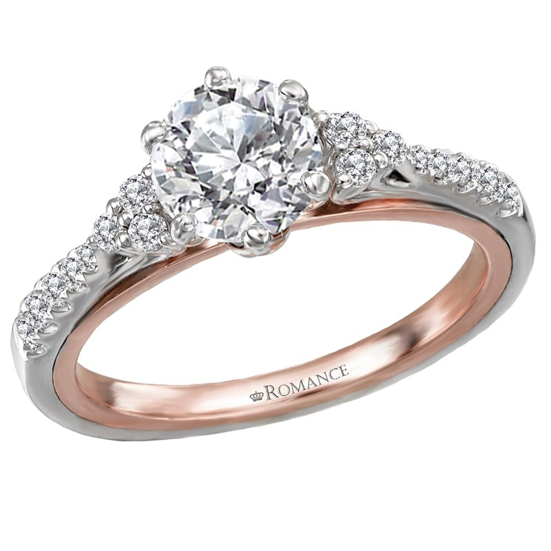 King's Bridal 18kt Wh & Rose Gold Diamond Engagement Ring