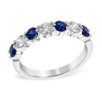 Sapphire & Diamond Shared Prong Band