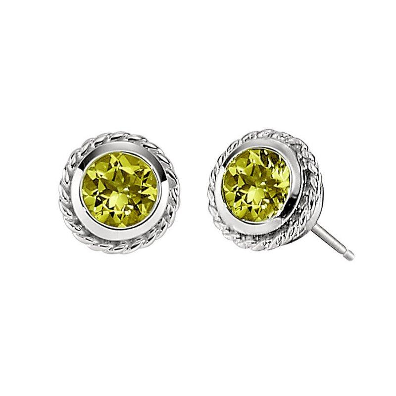 King's 14kt White Peridot Earrings