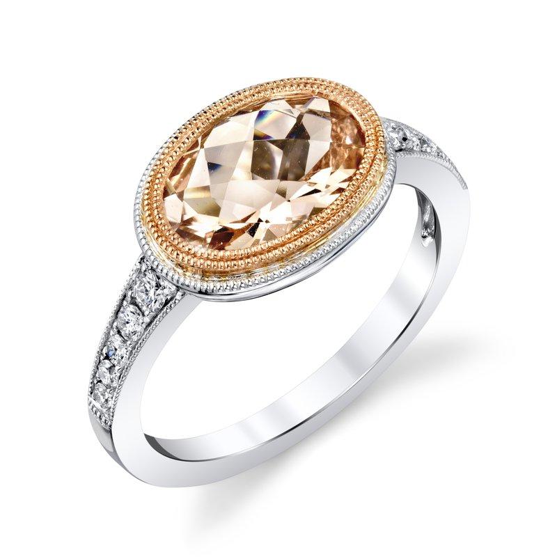King's Morganite and Diamond Ring