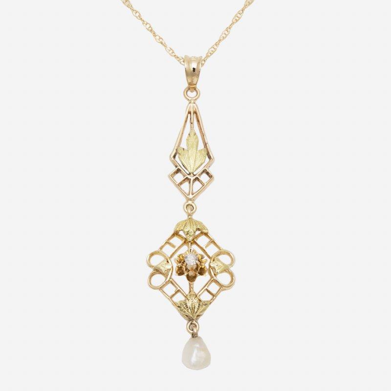 King's Estate 14kt Yel Gold Design Pendant w/Freshwater Pearls & Old Cut Diams