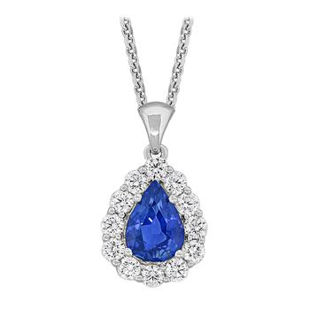 18kt PearShape Sapphire & Diamond Pendant